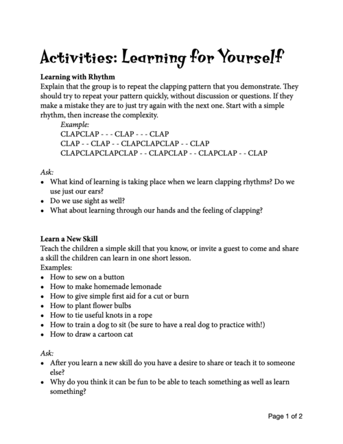 Learning for Yourself