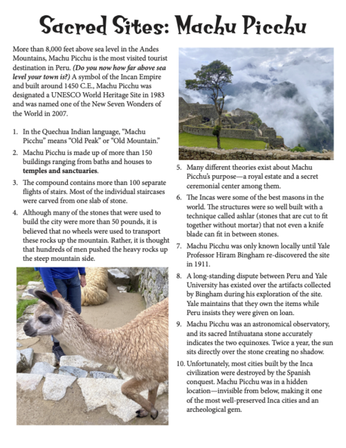 Sacred Sites: Machu Picchu